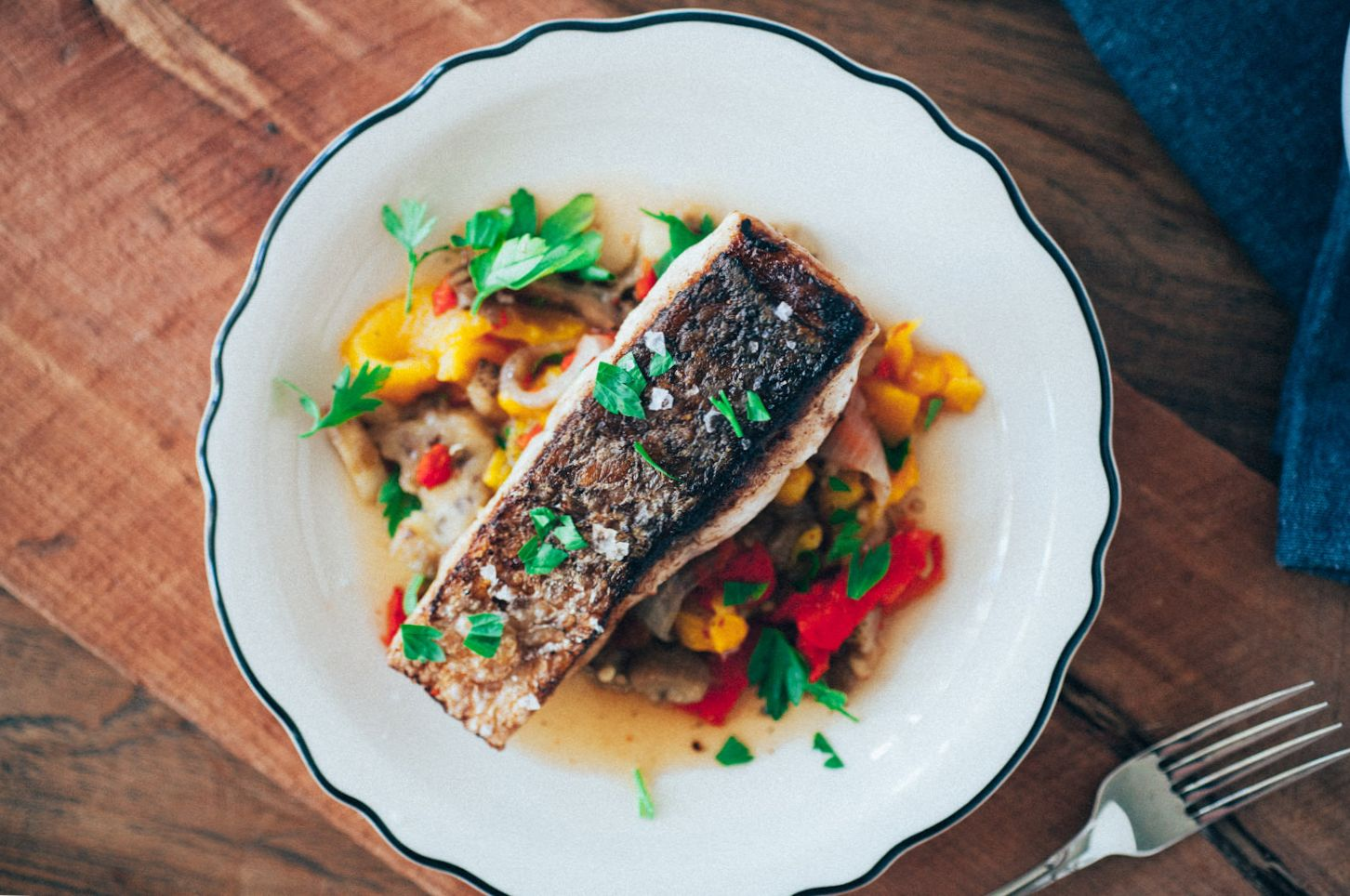 Crispy Sea Bass and Potatoes with Mediterranean Vegetables