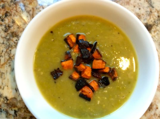 Sweet Potato, Pea and Bacon Soup